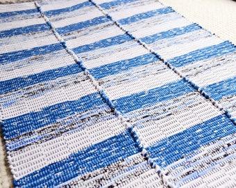 Handwoven rug, rug runner, weaving, cotton floor runner, rag rug (#219)