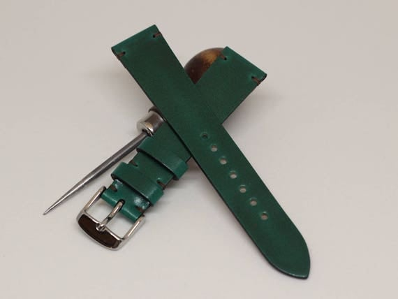 19/16mm Green Tuscany Shell Cordovan watch band - simple stitching