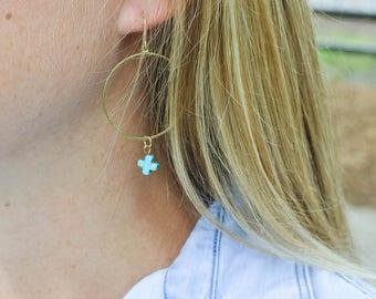 Turquoise Stone Cross 14K Gold Dipped Earrings / Gift For Women