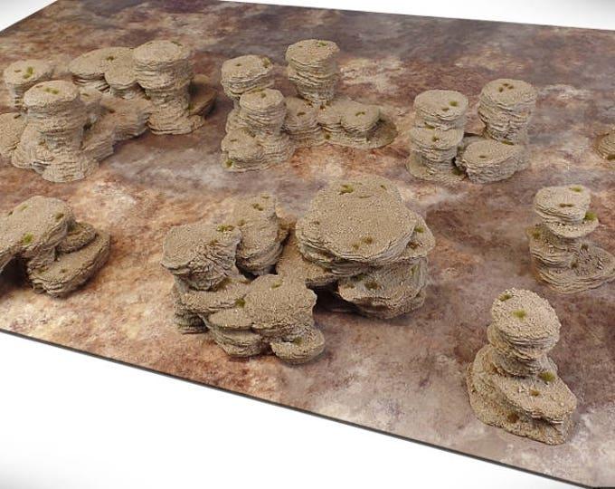 "Wargame Terrain - Spires & Plateaus - ""Badlands"" Deluxe Bundle terrain set - 10 pieces - CUSTOMIZABLE"