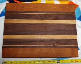 Handmade edge-grain cutting board (cherry, walnut, & maple)