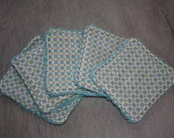 "Set of 5 wipes-eco-friendly cotton Washcloths ""My little blue cross"""