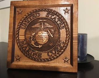 Wood Carved Marine Logo Plaque - Military Gift, Veteran Gift, Marines