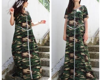 SALE Military dress/ Plus Size Boho Dress/ Boho Maxi Dress/ Designer Dress/ Summer dress/ Maxi Cotton Dress /by Fraktura D0024