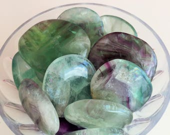 Surprise Crystal GREEN Fluorite Palm Stone Perfect for Healing, Chakras, Meditation