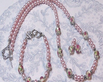 Pink pearl and lampwork, Necklace and earrings set, clip on or pierced fittings