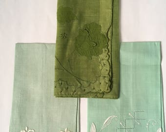 Vintage Lot of 3 Handkerchiefs Napkins Green Embroidered Applique Flowers Linens