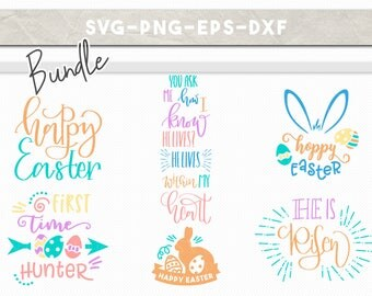 easter svg bundle, happy easter hoppy bunny egg hunter cut files, easter clipart, svg dxf eps png, iron on cricut downloads, christian svg