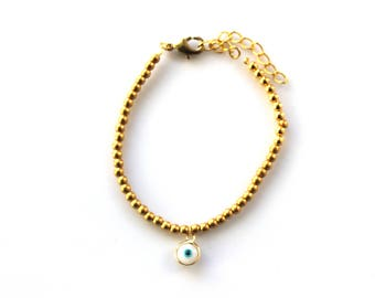 Beaded bracelet and look good luck - plated 24 k gold