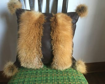 Recycled Fox Fur and leather cushion