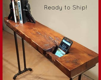 Reclaimed Wood Table, Console Table, Sofa Table,  Entryway Table, Hall Table, Mortise Hole, Salvaged Wood Table, Natural Edge Table, Cherry