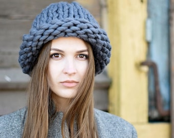 Beanie Hat. Super Chunky Hat, Merino Wool Hat, Winter Hat, Womens Winter Hat