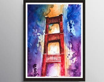 Golden gate Painting, Art Poster, San Francisco art, Cityscape art, Travel Illustration, Architecture Illustrator, Modern California art,