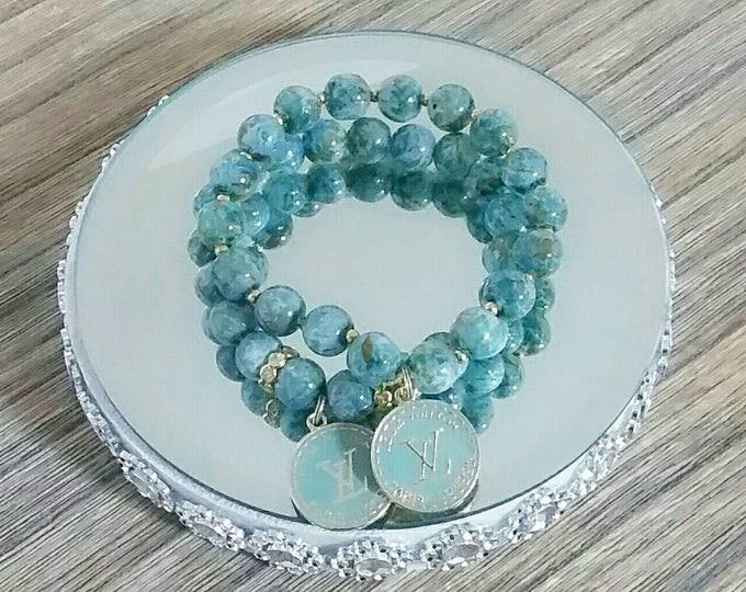 Designer Inspired Light Blue mixed Charm Bracelet Set