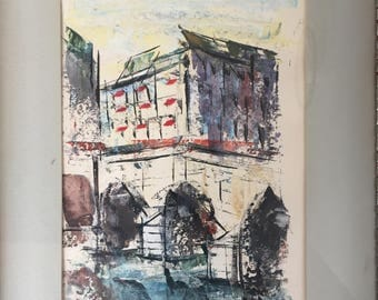 Mid Century Modern Watercolor - Signed