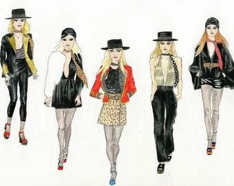 Western Fashion Illustration Print A4 size
