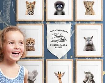 Safari nursery, Baby animal nursery art, PRINTABLE art, Safari animals, Safari animal prints, Giraffe print, Nursery wall decor, Baby room
