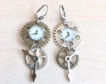 Steampunk earrings asymmetric with cabochon clock and gears