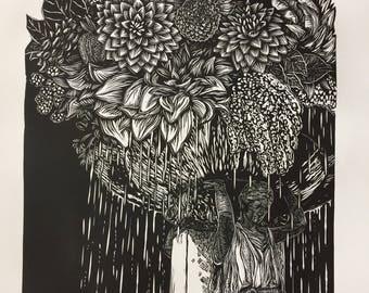 Skidmore Bouquet, linocut print