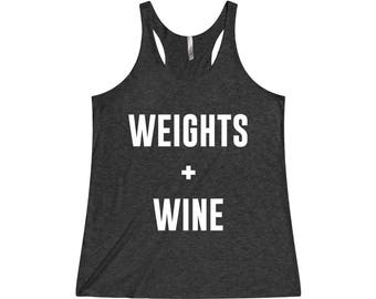Weights And Wine - Exercise Tank Top, Workout Tank, Womens Workout Tank, Exercise Tank, Gym Tank, Fitness Tank, Workout Tank Top, Gym Shirts