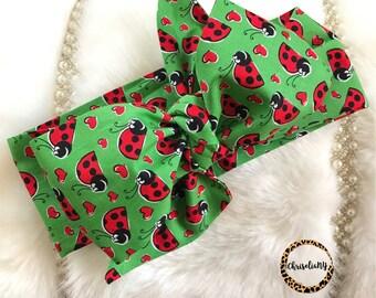 LADY BUG head wrap, Headwrap, Newborn Headwrap, Fabric Headwraps, Headwrap, Toddler Headwrap,  baby headwrap, baby headband