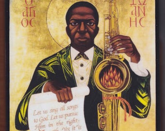 Saint John Coltrane Enthroned by Mark Dukes. Christian orthodox icon.FREE SHIPPING.