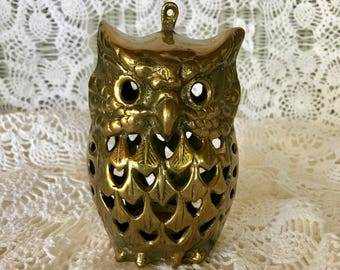 Hanging Brass Owl Candle Holder, Mid Century Brass Owl, #13