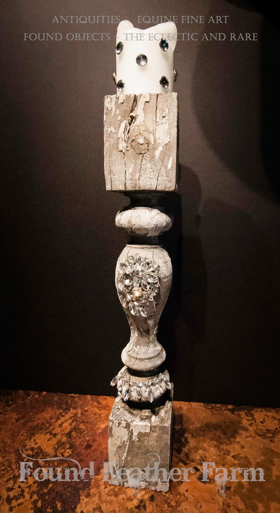 Antique Jeweled Pilaster with Jeweled Vintage White Melted Candle