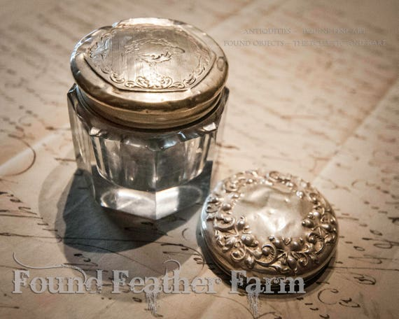 Antique Faceted Glass Vanity Jar with Two Sterling Silver Lids