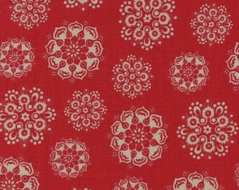 """Moda Fabric """"Peitites Maisons De Noel"""" by French General - One Yard Cut - red fabric, red with tan motif, red print fabric, Christmas Fabric"""