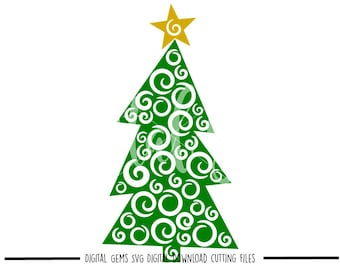 Christmas tree svg / dxf / eps / png files. Digital download. Compatible with Cricut and Silhouette machines. Small commercial use ok.