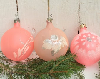 Vintage Soviet christmas ball Antique Christmas  gift Rare glass toy Christmas Ornament Pink Ball Christmas tree New Year's holiday