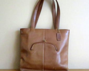 Coach Skinny Tote In Tabac (Saddle ?) Leather- Made In NYC At 'The Factory'- VGC