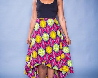 Asymmetrical Wrap Skirt/ African Print Skirt