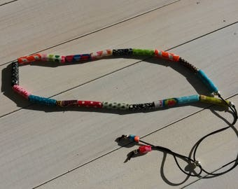 "multicolored ""fabric"" adjustable necklace - model 3"