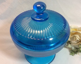Fenton? Northwood? Celeste Blue Stretch Iridescent  Glass Fine Ribbed # 943 Covered Candy Dish! Perfec for Birthday and Mothers Day!