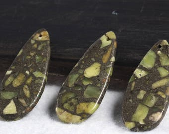 3pc Green Jasper Tear Drop Pendant, Gemstone Pendant, Slice Beads, Craft Supplies, Jewelry Making Beads, Bead Supplies Jewelry Design