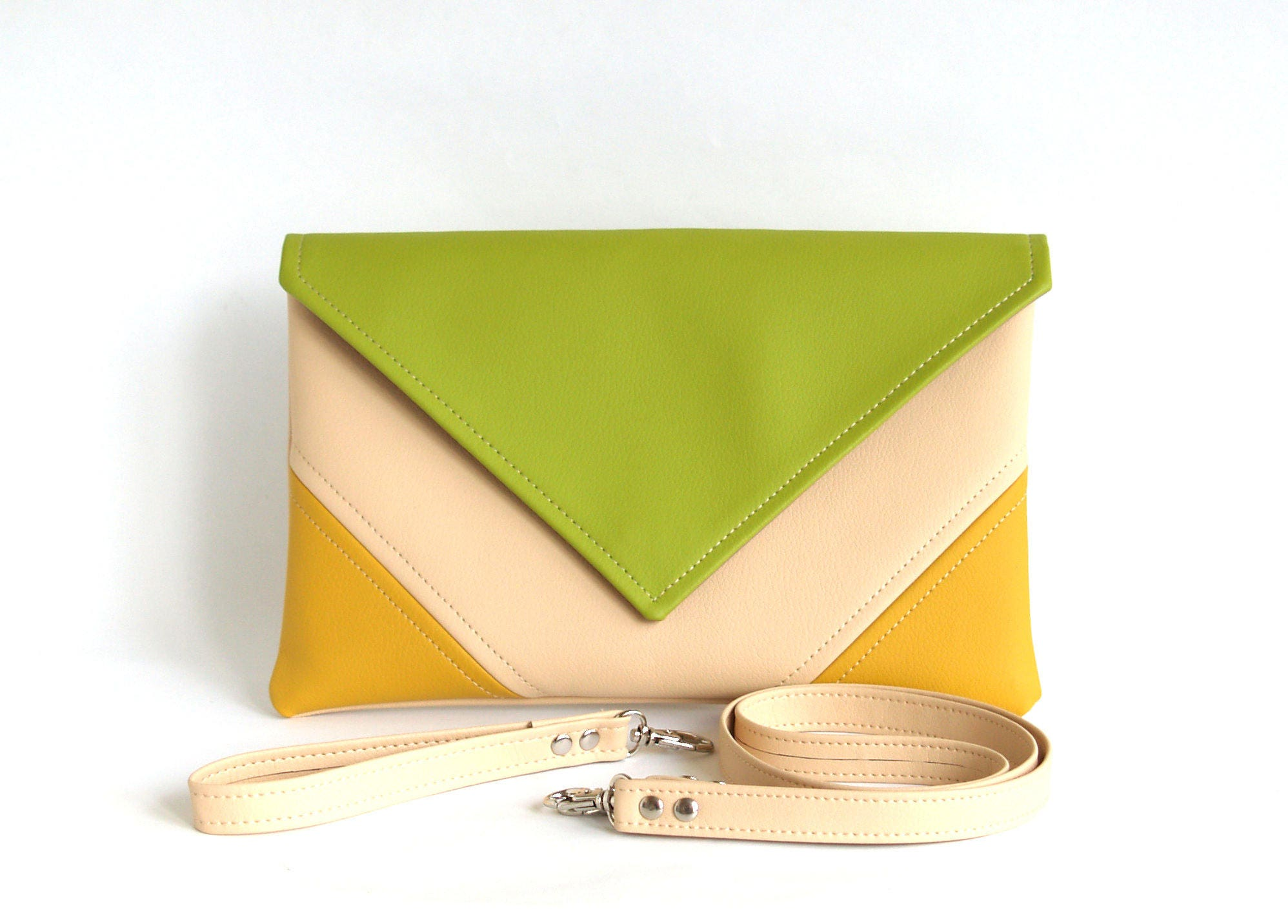 Clutches Evening Bags Elegant Fashion Clutch Cream Bag Envelope Palette Green Lime Yellow Purse Vegan Eco Faux Leather