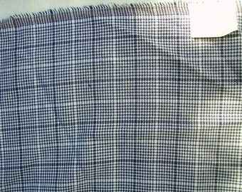 NO. 117 - BLUE GINGHAM PATTERN WOOL FABRIC NAVY