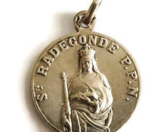 "Vintage french religious sterling silver  ""Sainte Radegonde"" medal , christian pendant"