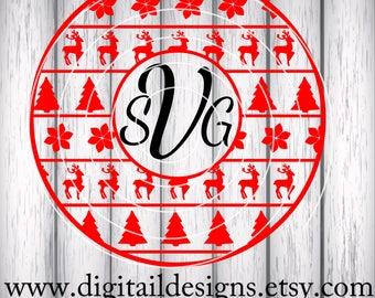 Large Christmas Monogram Frame SVG - png - fcm - eps - dxf - ai - Cut File - Silhouette - Cricut - Christmas Monogram SVG - Tribal Monogram
