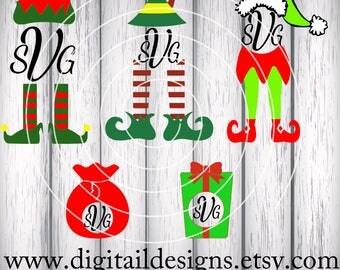 Set of Christmas Elf Monogram Frame SVG - png - fcm - eps - dxf - ai - Cut File - Silhouette - Cricut -  Scan N Cut - Elf Bundle SVG