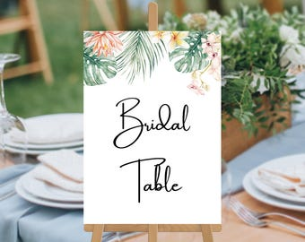 Tropical Wedding Table Numbers, Printable Digital File, Monsteria Tropical Watercolour Wedding Table Cards, Kimberley Suite