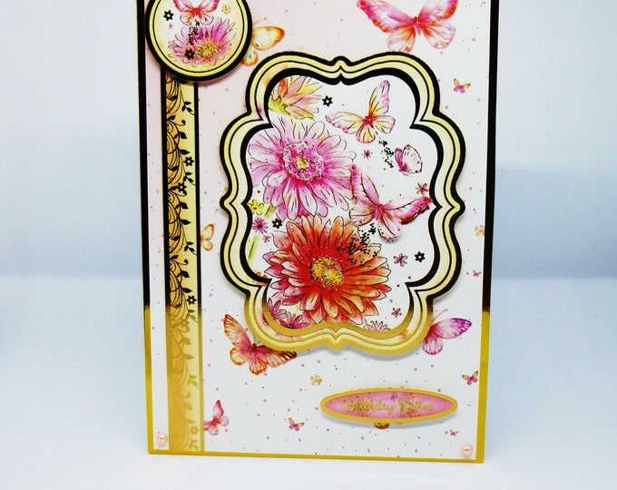Floral Birthday Card, Flowers and Butterflies, Greeting Card,  Birthday Wishes, Pink Butterflies, Pink and Gold, Female, Any Age,