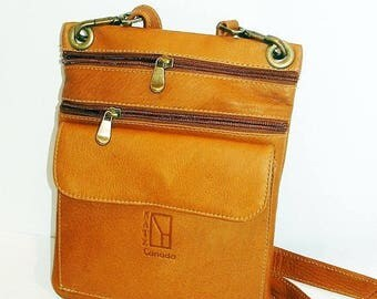 ON SALE NOW Small Tan Genuine Leather Crossbody Bag by Katz, Women's Small Leather Bag, Men Leather Handbag Satchel, handmade purse, leather