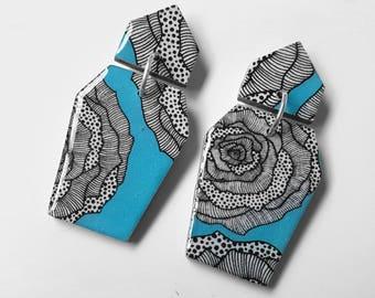 "Coffin shaped danglies – ""Aqua rose"" (wearable art, eco wood, floral)"