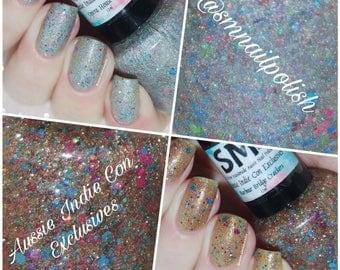 10% OFF!!!  Aussie Indie Con Exclusives/ Glitter Nail Polish/ 5 Free Handmade Aussie Nail Polish