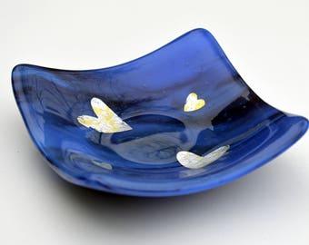 Lilac Heart Glass Trinket Dish - Birthday, Mum, Gift, earring, valentines, love, engagement, wedding, anniversary