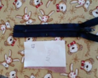zipper 10 cm in color blue