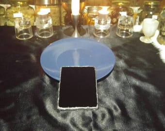 Handmade black scrying mirror